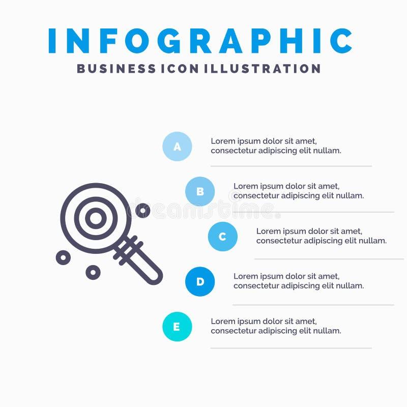 Godis Lollypop, Lolly, söta blåa moment för Infographics mall 5 Vektorlinje symbolsmall vektor illustrationer