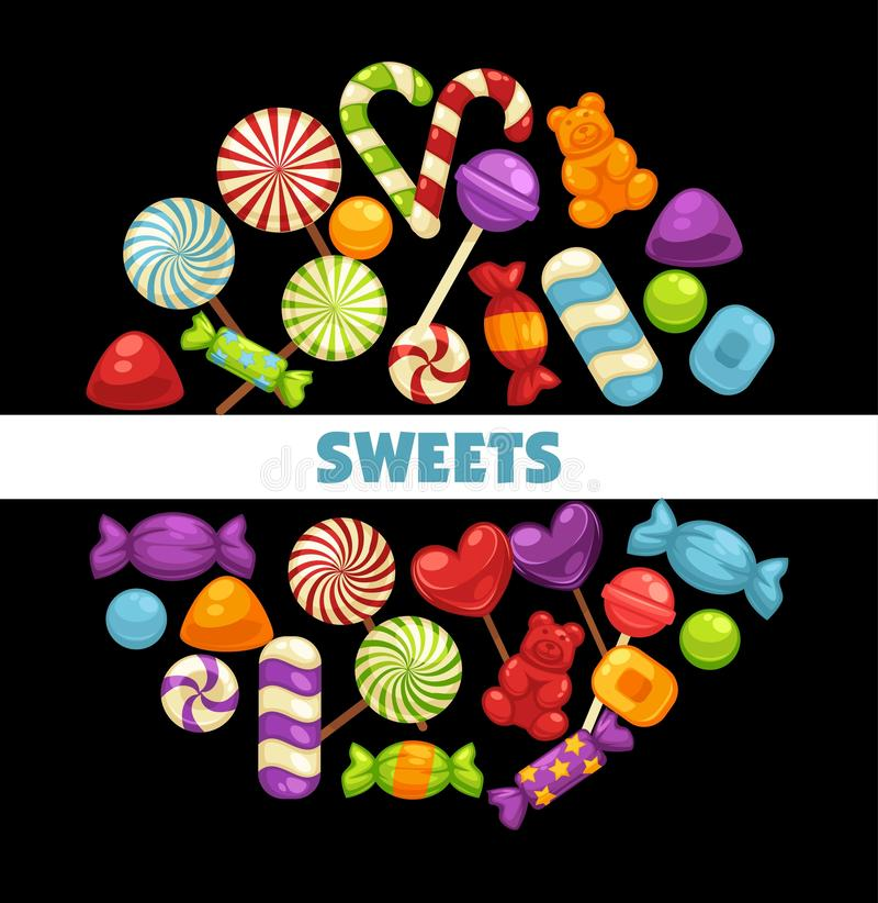 Godis- och karamellsötsakaffischen för konfekt eller godis shoppar royaltyfri illustrationer