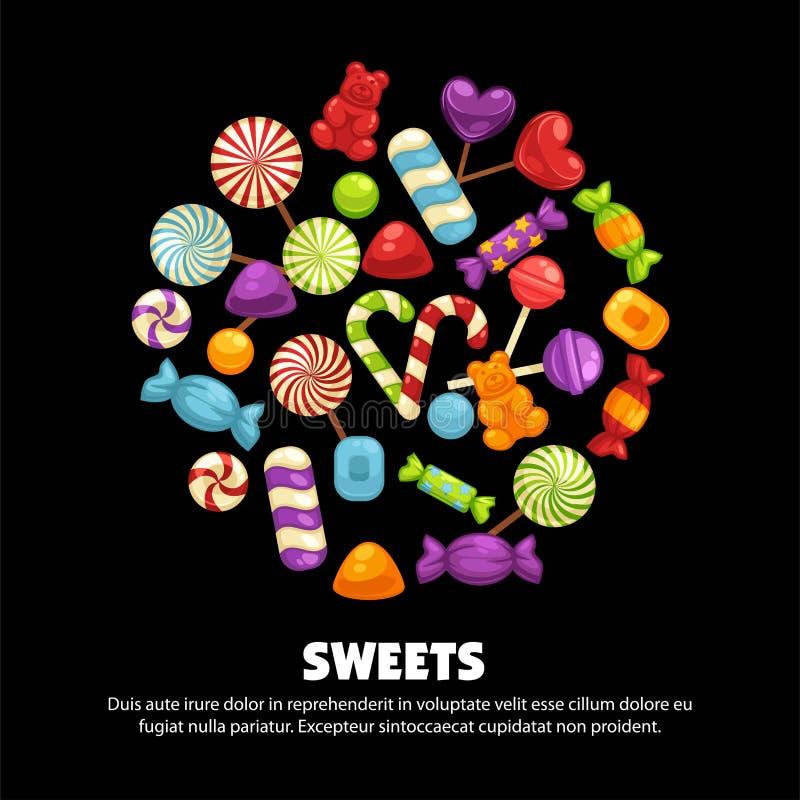 Godis- och karamellsötsakaffischen för konfekt eller godis shoppar vektor illustrationer