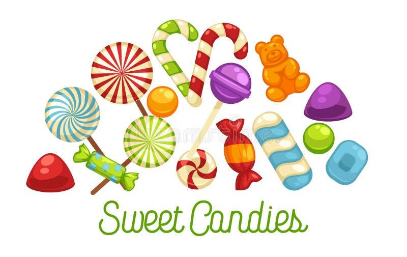 Godisar och sötsakaffisch av comfien för hård godis och för choklad för konfektkaramell stock illustrationer