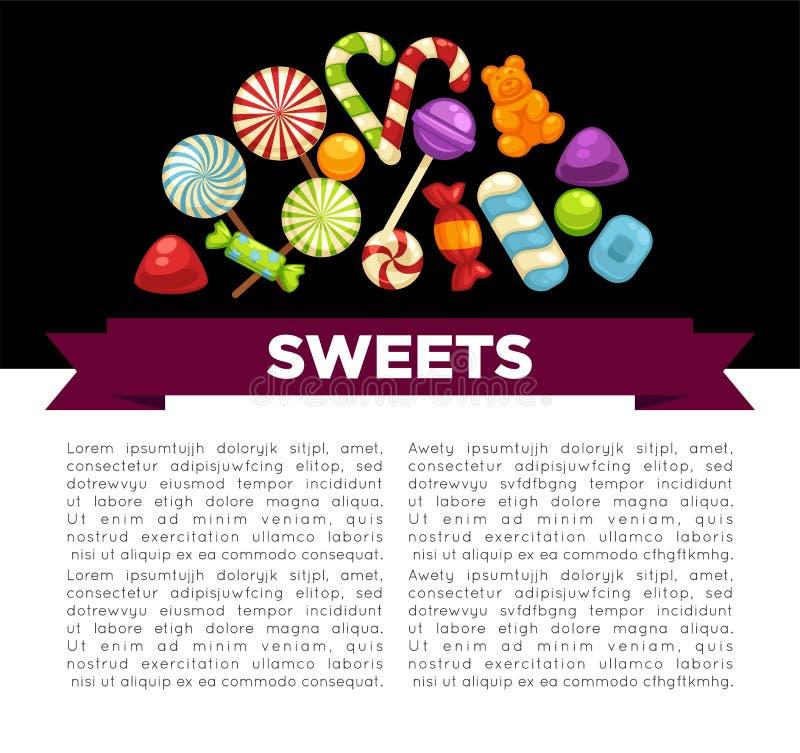 Godisar och sötsakaffisch av comfien för hård godis och för choklad för konfektkaramell vektor illustrationer