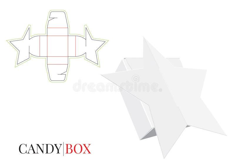 Godisask, gåvaask, pappers- ask, själv som låser asken, förpackande design vektor illustrationer