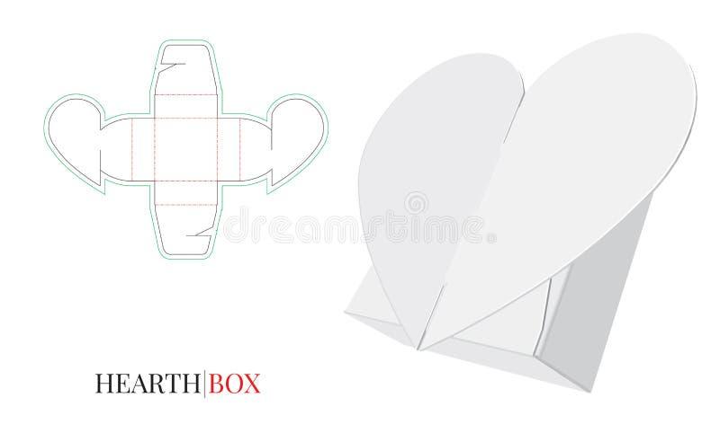 Godisask, hjärta för gåvaask, själv som låser askillustrationen, förpackande design stock illustrationer