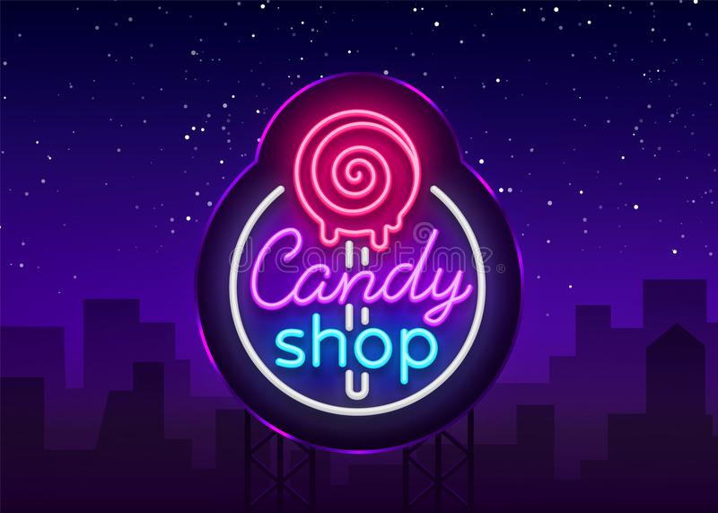 Godisen shoppar logo i neonstil Lagra sötsakneontecknet, banerljus, ljusa neonnattsötsaker som annonserar Design arkivbild