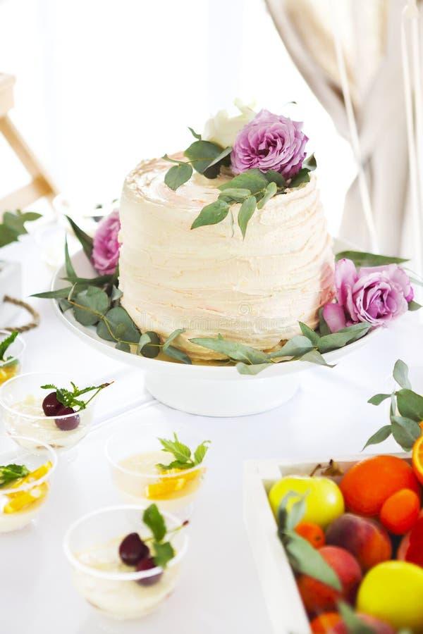 Godisstång med kakan, tiramisuen, pannacottaen och citruns arkivbilder