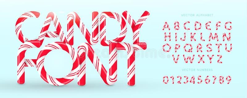 Godisstilsort Vektoralfabet och nummer Söt godis, klubbalatinbokstäver Vita bokstäver med röda band Cirkus och stock illustrationer