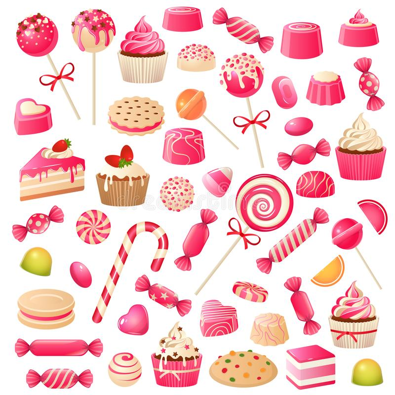 Godisupps?ttning Söta efterrättchokladgodisar, marshmallow och drageegelé Chokladkakamuffin, klubbasötsak stock illustrationer