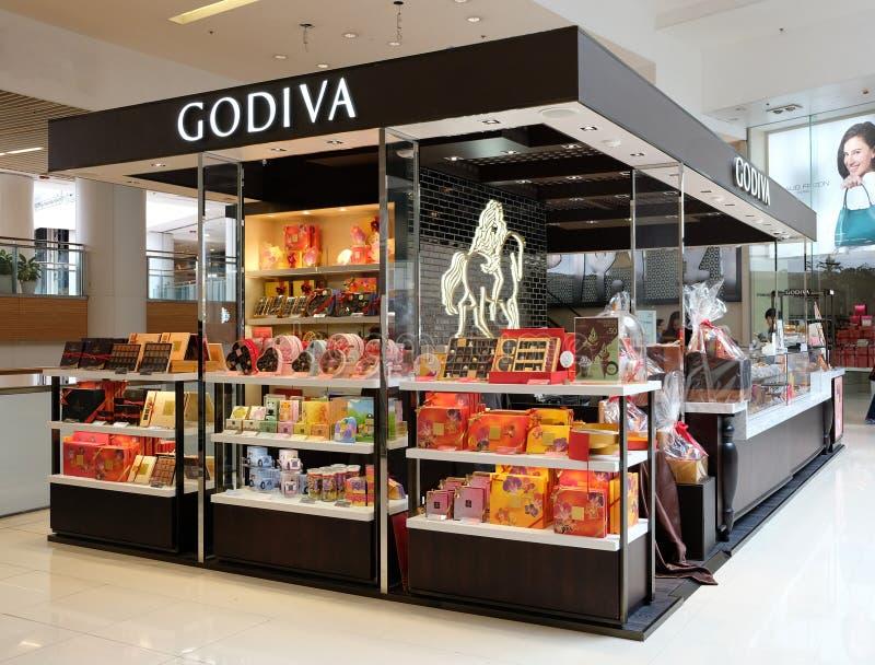 Godiva in Hong Kong Godiva Chocolatier ist ein Hersteller von den erstklassigen Schokoladen, die in Belgien I gegründet werden stockbilder