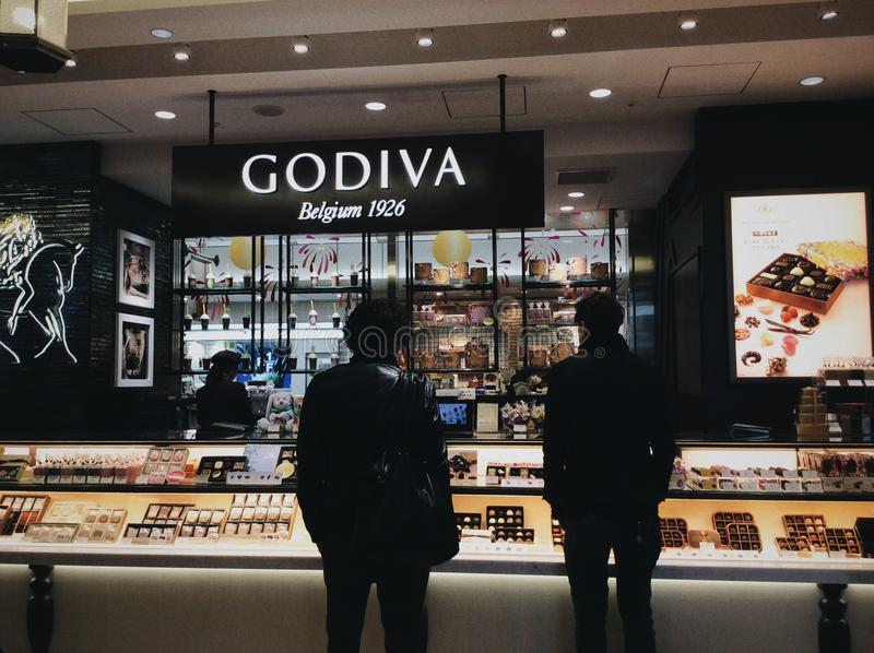 Godiva Shop à Tokyo image stock
