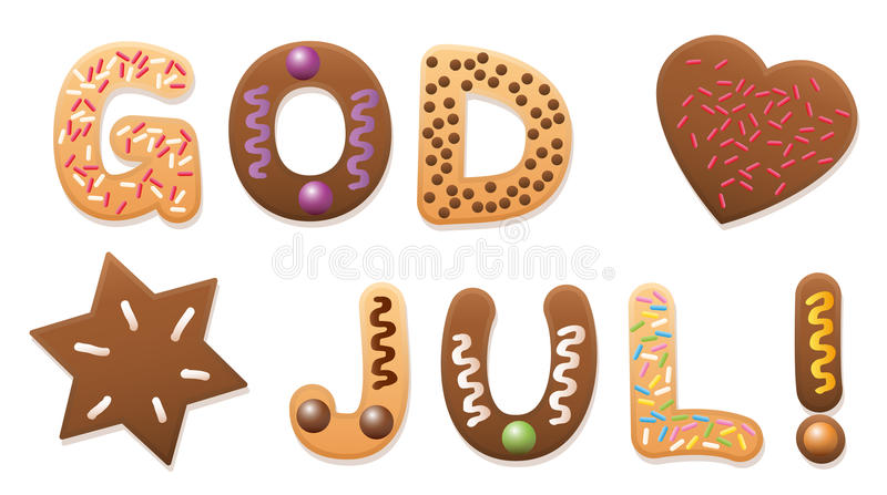 GODJUL Swedish Merry Christmas Cookies. GOD JUL - Merry Christmas in swedish and norwegian language - written with christmas cookies letters stock illustration