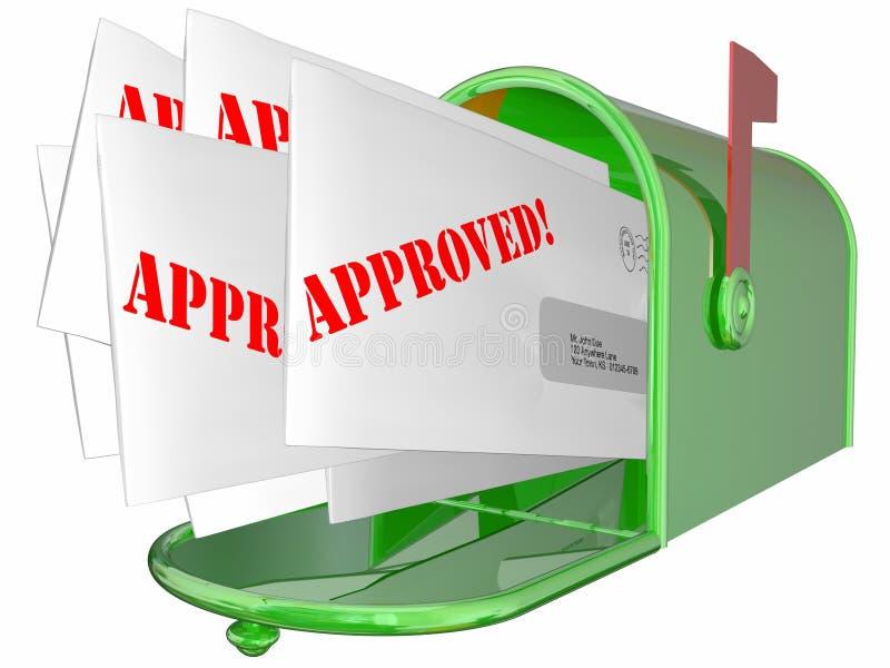 Godkänd bokstav accepterad meddelandebrevlåda stock illustrationer