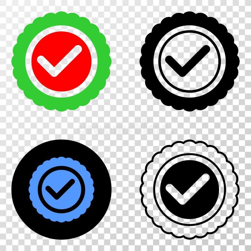 Godkänn symbolen för skyddsremsavektorEPS med konturversion stock illustrationer