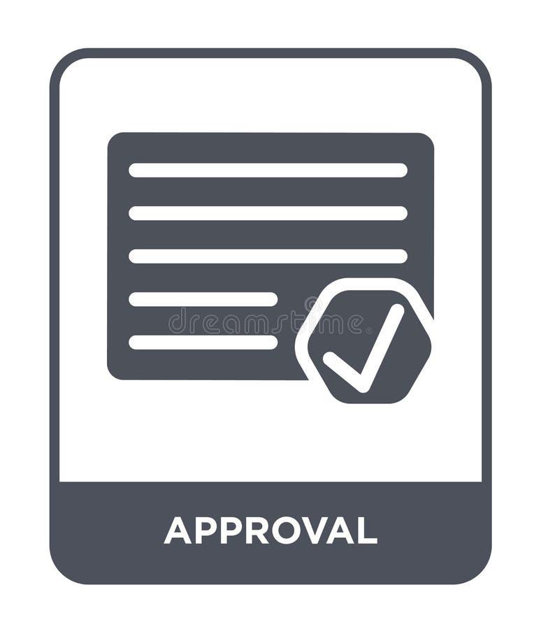 godkännandesymbol i moderiktig designstil godkännandesymbol som isoleras på vit bakgrund enkel och modern lägenhet för godkännand stock illustrationer