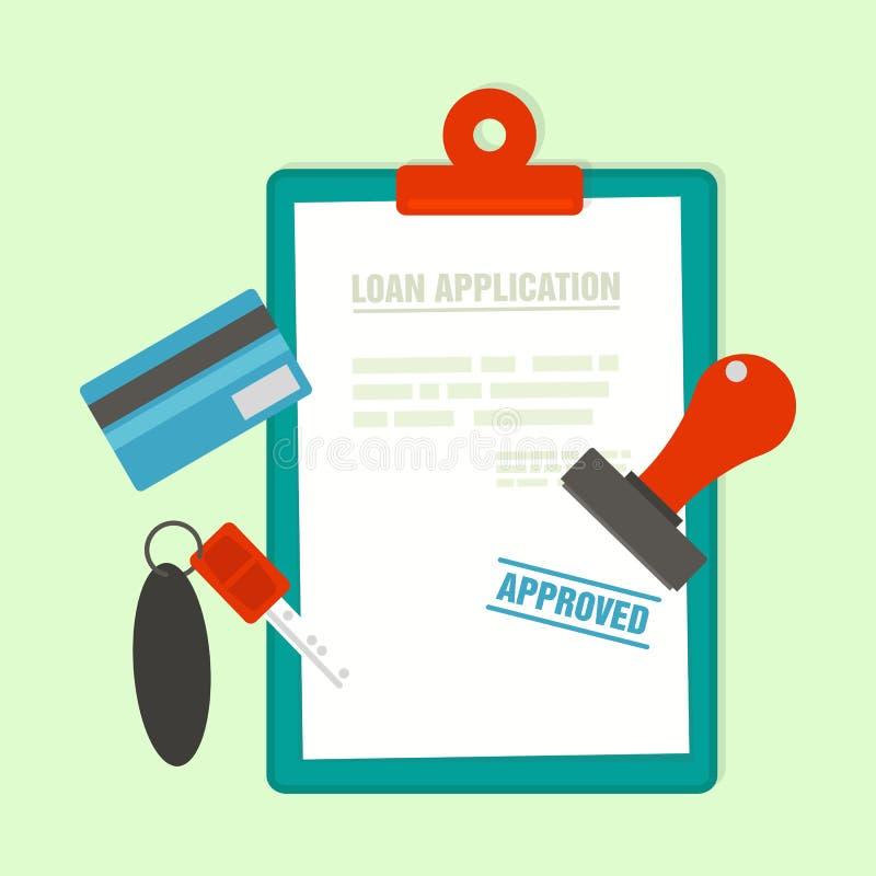 Godkänt inteckna lånapplikationen med biltangent stock illustrationer