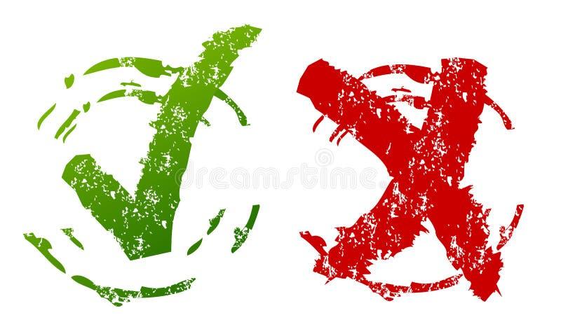 Godkänt och kasserat grungetecken royaltyfri illustrationer