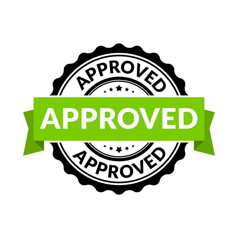 Godkänt skyddsremsastämpeltecken Symbol för tillåtelse för vektorgummirunda för godkännandebakgrund royaltyfri illustrationer