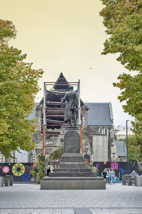 The Godley Statue situated in front of the Christchurch Cathedral at the Cathedral Square as a commemoration to John Robert Godley. Christchurch, New Zealand stock photos