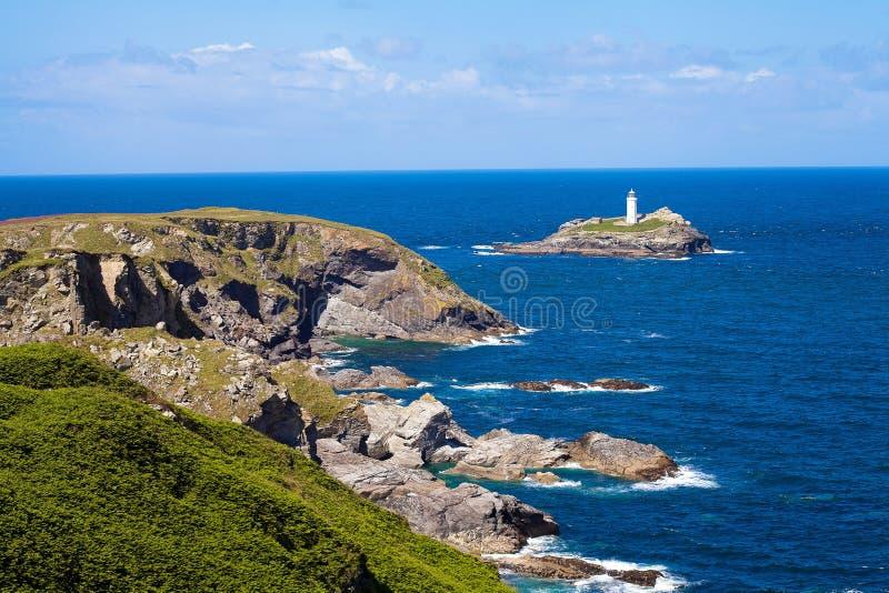Godrevy Lighthouse è stato costruito da Trinity House nel 1859 immagini stock libere da diritti