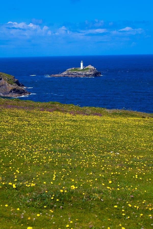 Godrevy Lighthouse è stato costruito da Trinity House nel 1859 immagini stock