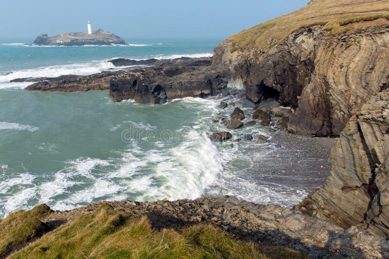 Godrevyvuurtoren en eilandst Ives Bay Cornwall kust Engeland het UK stock fotografie