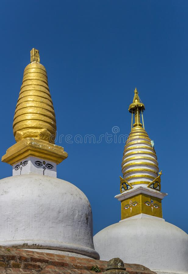Gods eyes of the Chilancho Stupa in Kirtipur. Nepal royalty free stock photography