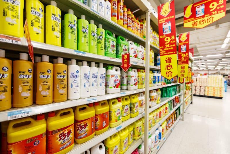 Gods för detaljhandel för Kina hangzhou wal-marknad supermarket royaltyfri foto