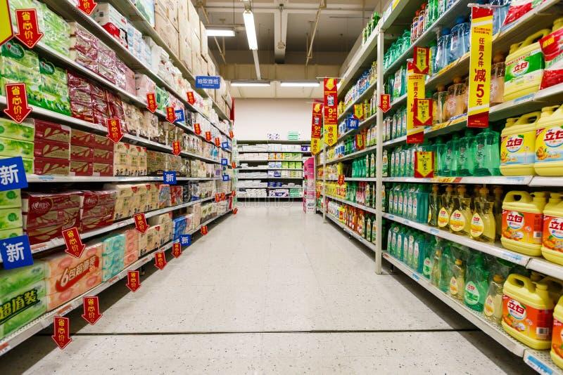 Gods för detaljhandel för Kina hangzhou wal-marknad supermarket royaltyfria bilder
