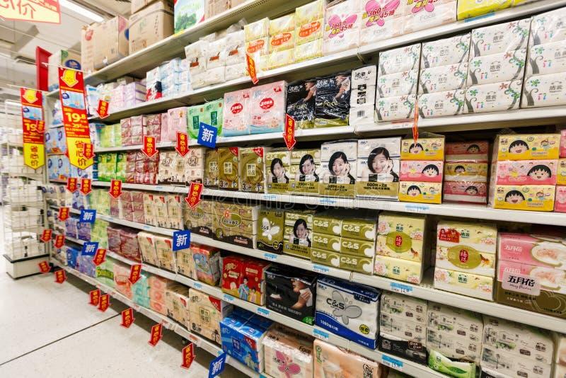 Gods för detaljhandel för Kina hangzhou wal-marknad supermarket royaltyfri bild