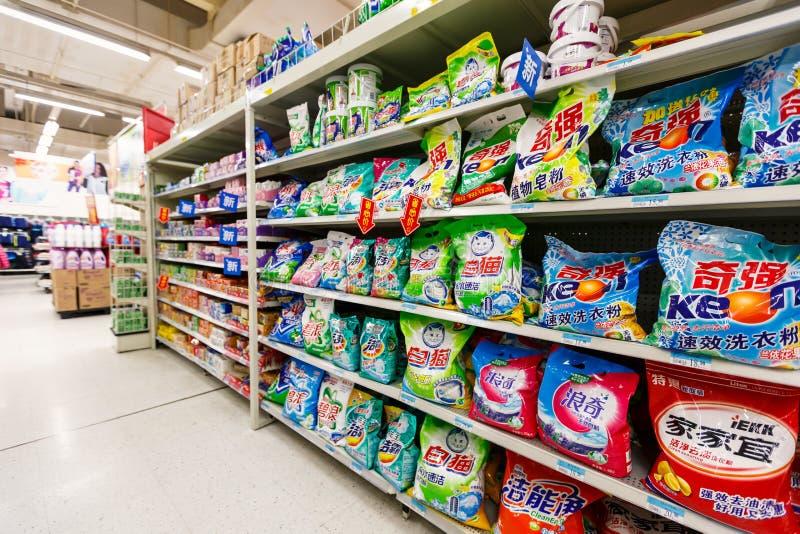 Gods för detaljhandel för Kina hangzhou wal-marknad supermarket arkivfoton