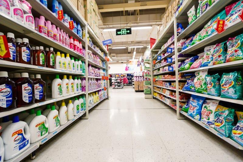 Gods för detaljhandel för Kina hangzhou wal-marknad supermarket arkivbild
