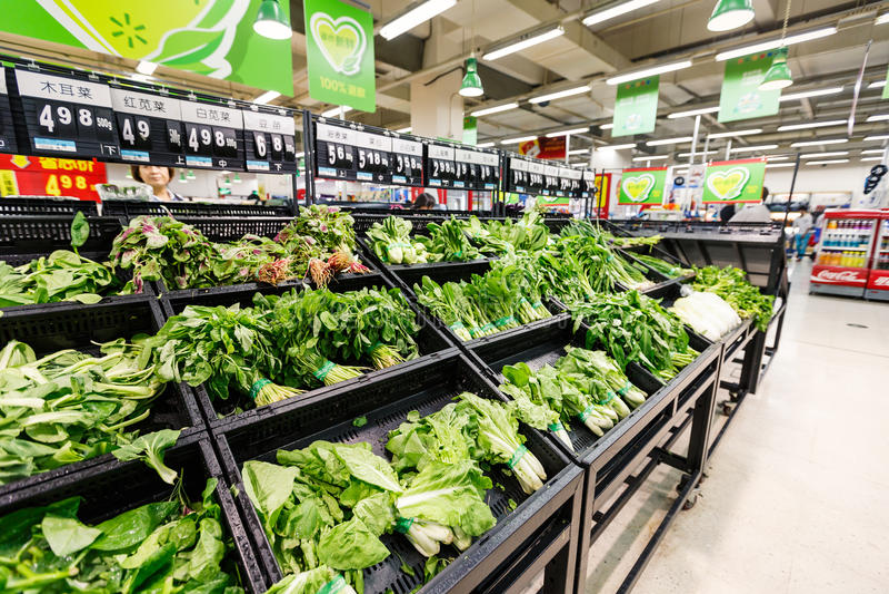 Gods för detaljhandel för Kina hangzhou wal-marknad supermarket royaltyfri fotografi