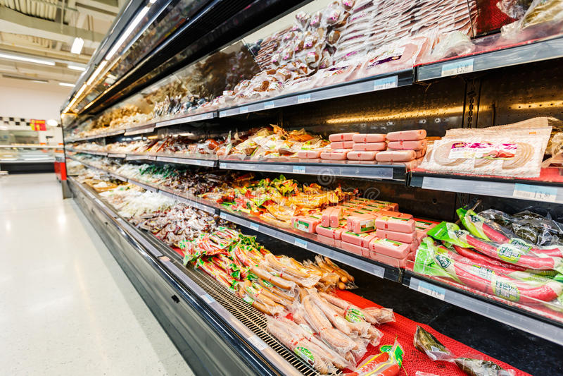 Gods för detaljhandel för Kina hangzhou wal-marknad supermarket royaltyfria foton
