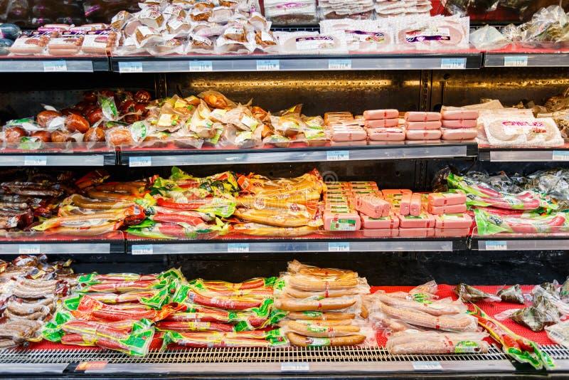 Gods för detaljhandel för Kina hangzhou wal-marknad supermarket arkivfoto