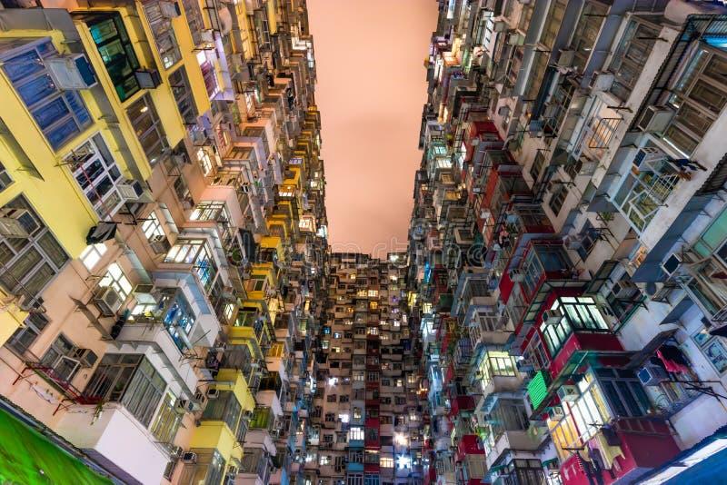 Gods Kina för Hong Kong Residential gammalt mång- färgarkitektur royaltyfri bild