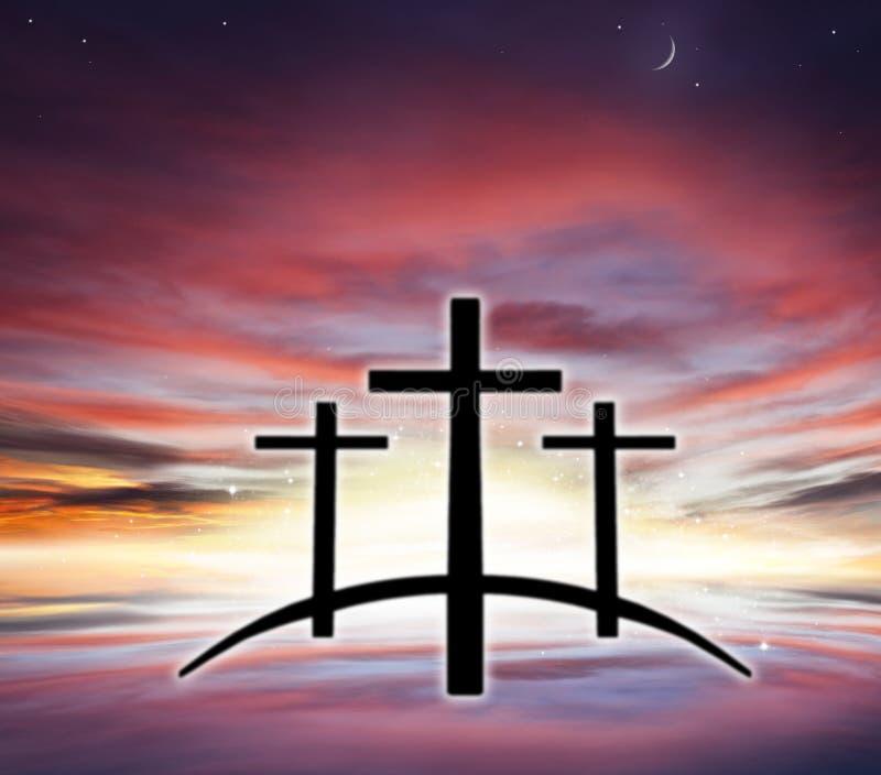 Gods` s Kruis Licht in donkere hemel De achtergrond van de godsdienst Jesus in de hemel stock afbeelding
