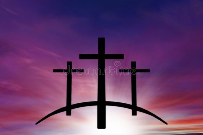 Gods` s Kruis Licht in donkere hemel De achtergrond van de godsdienst Jesus in de hemel royalty-vrije stock foto