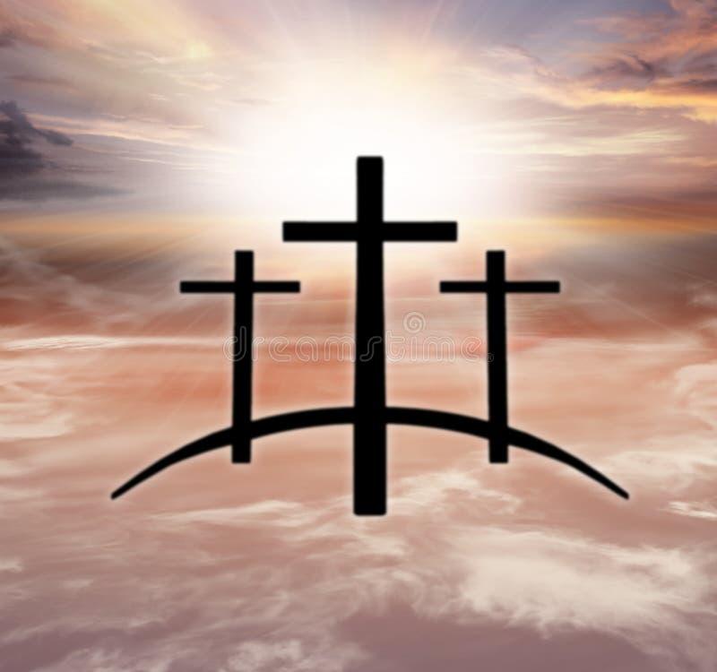 Gods` s Kruis Licht in donkere hemel De achtergrond van de godsdienst Jesus in de hemel stock fotografie