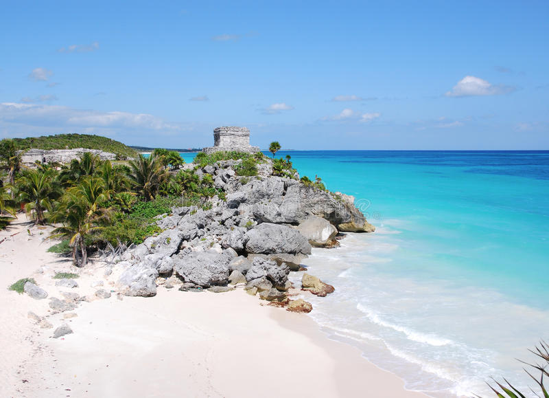 Gods of Winds Temple in Tulum. Gods of Winds Temple by the beach, Tulum, Yucatan royalty free stock photos