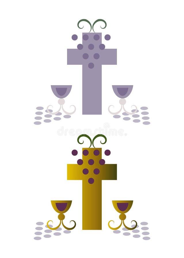 Godsdienst/Christendom: Kruis en druiven stock illustratie