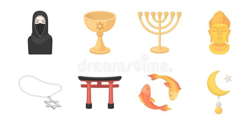 Godsdienst en geloofspictogrammen in vastgestelde inzameling voor ontwerp Toebehoren, illustratie van het de voorraadweb van het  stock illustratie