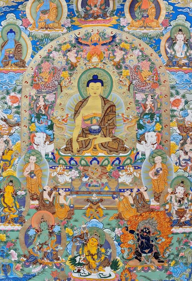 Godsdienst Het Schilderen, Tibet, China Stock Afbeeldingen