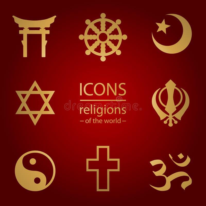 Godsdiensten van de wereld Geplaatste pictogrammen vector illustratie