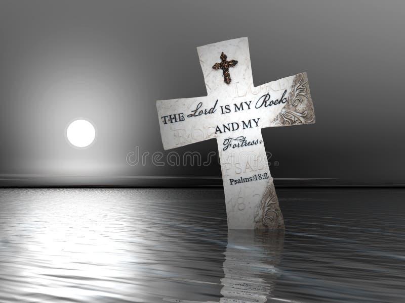 Godsdienstig Kruis in Water stock illustratie