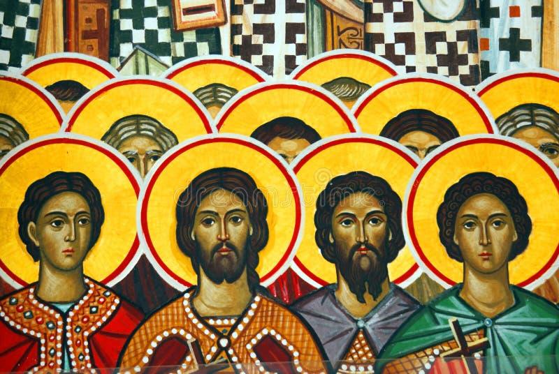 Godsdienstig muurschilderij stock afbeelding