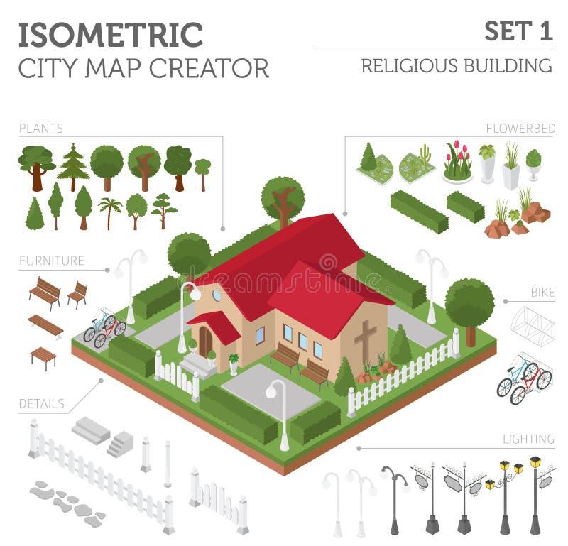 Godsdienstige architectuur Vlakke 3d isometrische kerk en stadskaart stock illustratie