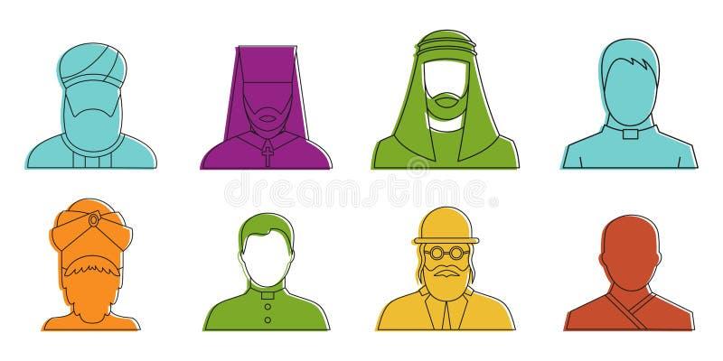 Godsdienstige avatar pictogramreeks, de stijl van het kleurenoverzicht royalty-vrije illustratie