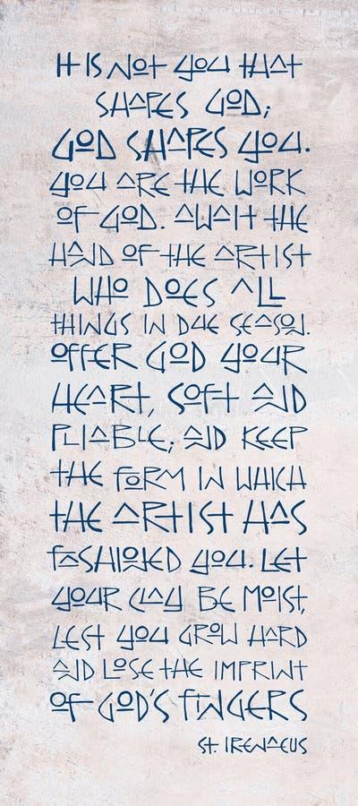 Godsdienstige Christelijke uitdrukking van Heilige Ireneus royalty-vrije illustratie