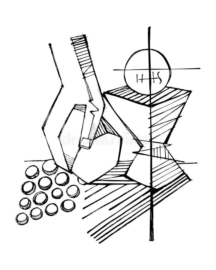 Godsdienstige Christian Eucharist-symbolen royalty-vrije illustratie