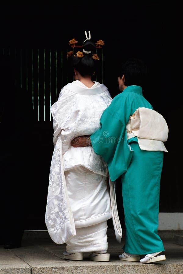 Godsdienstige het huwelijksceremonie van Shinto. royalty-vrije stock afbeeldingen