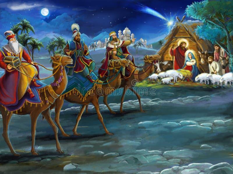 Godsdienstige illustratie drie koningen - en heilige familie - traditionele scène vector illustratie